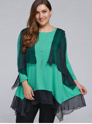 Plus Size Overlay Chiffon Patchwork Asymmetrical Blouse
