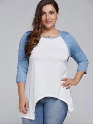 Plus Size Asymmetrical Raglan Sleeve T-Shirt