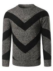 Crew Neck Striped Jacquard Pullover Heather Sweater -