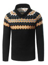 Turndown Collar Geometric Pattern Pullover Sweater