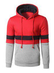 Color Block poche kangourou Sweat à capuche - Rouge S