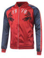 Color Block 1978 Bird Embroidery Souvenir Jacket
