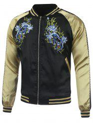 Kylin Embroidery Raglan Sleeve Souvenir Jacket - BLACK