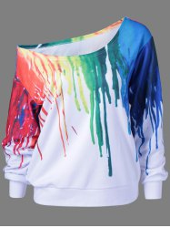 Paint Drip Skew Collar Sweatshirt - WHITE M