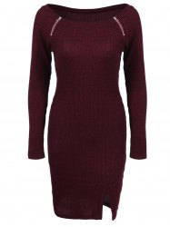 Zippers Embellished Ribbed Casual Dress Winter - DEEP RED M