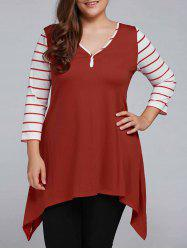 Plus Size Striped Sleeve Asymmetrical T-Shirt
