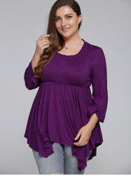 Plus Size Empire Waist Asymmetric Blouse