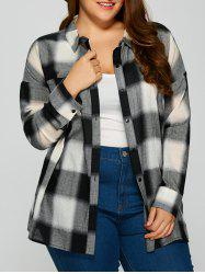 Plus Size Drop Shoulder Plaid Shirt