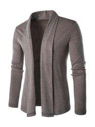 Slim Shawl Collar Long Cardigan - KHAKI