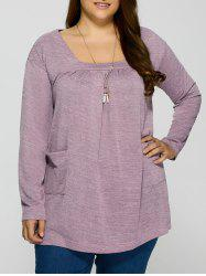 Plus Size Square Neck Pockets Design Pullover