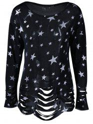 Ripped Star Print T-Shirt -