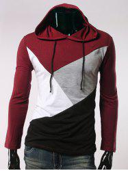 Long Sleeve Color Block Hooded T-Shirt