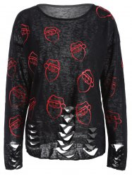 Santa Print Hollow Out Knitwear