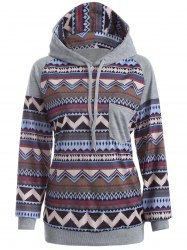 Tribal Print Raglan Sleeves Pocket Hoodie