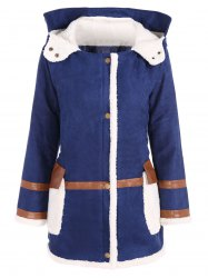 Quilted Fleeced Faux Suede Hooded Coat
