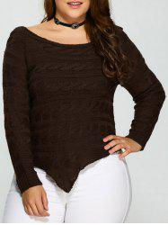 Plus Size Asymmetric Hem Cable Knit Sweater - DEEP BROWN