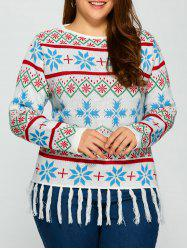 Plus Size Snowflake Pattern Tassel Trim Sweater - WHITE 2XL