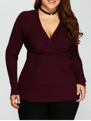 V Neck Plus Size Stripes Pattern Plain Sweater