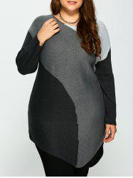 Plus Size Buttons Embellished Asymmetric Hem Sweater