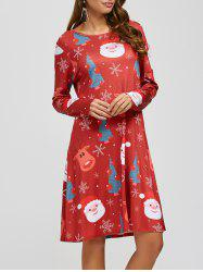 Christmas Santa Elk Print A-Line Dress