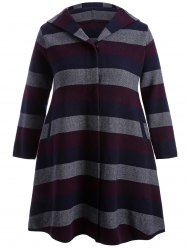 Wool Striped Hooded Coat -