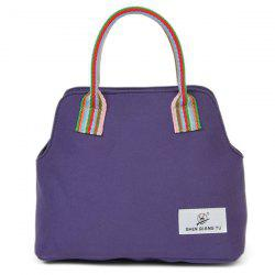 Colour Splicing Striped Pattern Canvas Tote Bag