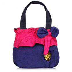 Bow Elastic Colour Block Tote Bag