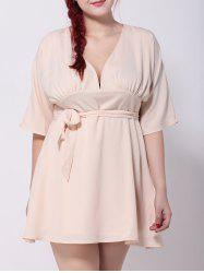 Cut Out Tied Belt Swing Dress