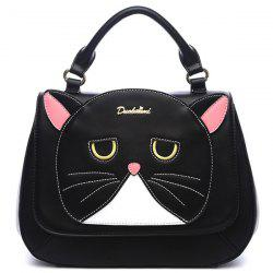 Stitching Cat Pattern Colour Spliced Crossbody Bag