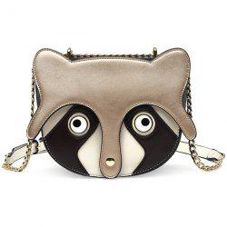 Chain Fox Pattern Colour Spliced Crossbody Bag