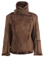 Fleece Lining Faux Suede Jacket - COFFEE