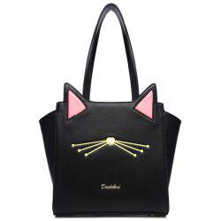 PU Leather Embroidery Colour Splicing Shoulder Bag - BLACK