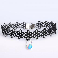 Faux Gem Water Drop Floral Choker - BLACK