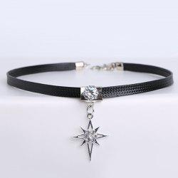 PU Leather Rhinestone Star Choker Necklace - BLACK