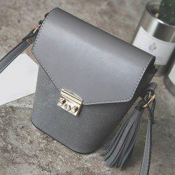 Metal Tassels Covered Closure Crossbody Bag - GRAY