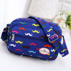 Colour Spliced Moustache Printed Canvas Crossbody Bag -