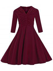 Retro Ruched Button Full Midi Dress