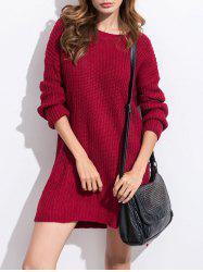 High Low Slit Winter Casual Jumper Sweater Dress -