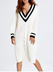 V Neck Oversized Slit Midi Sweater Dress