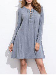 Long Sleeve Lace Up Knitted Dress