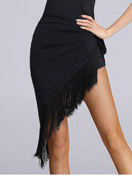 Fringe Sarong Wrap Skirt - BLACK