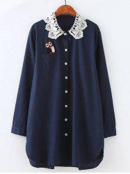 Plus Size Owl Lace Crochet Collar Tunic Shirt -