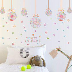 Removable Merry Christmas Colorful Star Ball DIY Wall Stickers