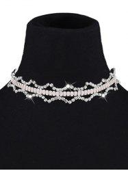 Rhinestone Geometry Choker and Earrings - WHITE