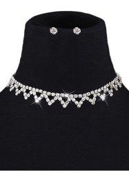 A Set of Rhinestone Triangle Choker and Earrings