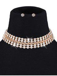 Symmetry Rhinestone Choker and Earrings