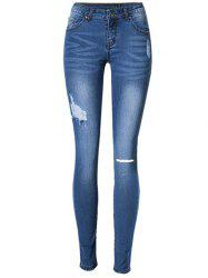 Broken Hole Stretchy Jeans - BLUE