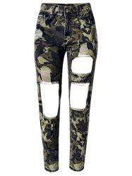 Camo Print Broken Hole Jeans - CAMOUFLAGE COLOR
