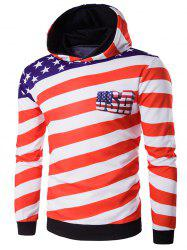 3D USA Flag Star Printed Pullover Hoodie - RED M