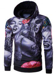 3D Devil Women Flower Printed Long Sleeve Hoodie